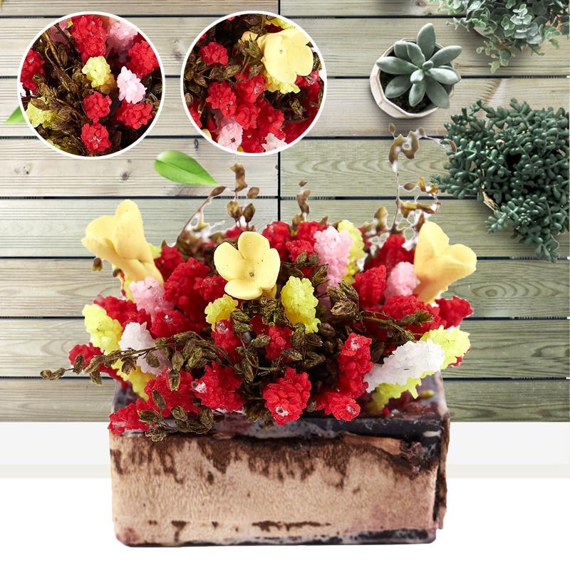 3X-1-12-Dollhouse-Miniature-Multicolor-Flower-Bush-With-Wood-Pot-V1X8 thumbnail 3