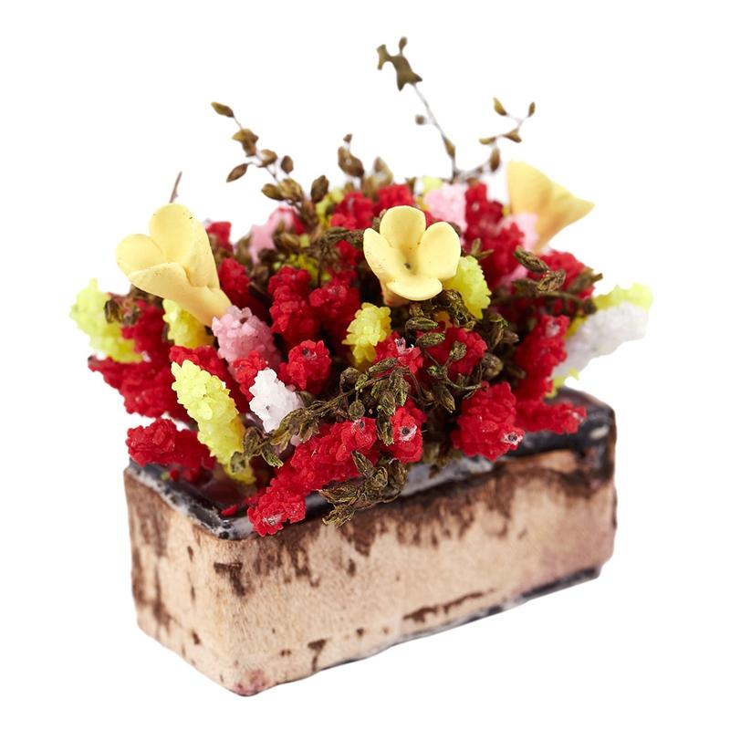 3X-1-12-Dollhouse-Miniature-Multicolor-Flower-Bush-With-Wood-Pot-V1X8 thumbnail 4