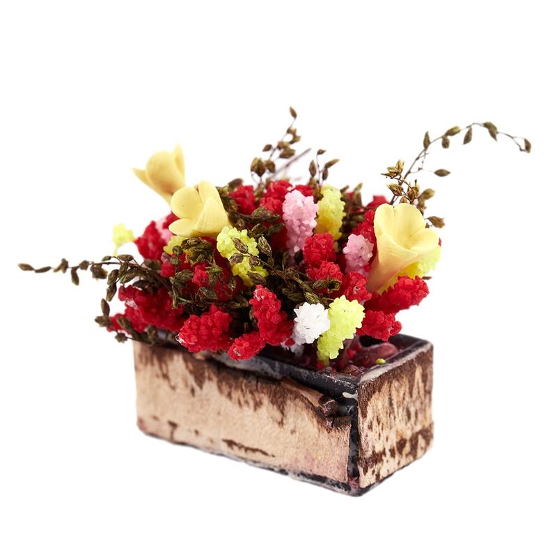 3X-1-12-Dollhouse-Miniature-Multicolor-Flower-Bush-With-Wood-Pot-V1X8 thumbnail 5