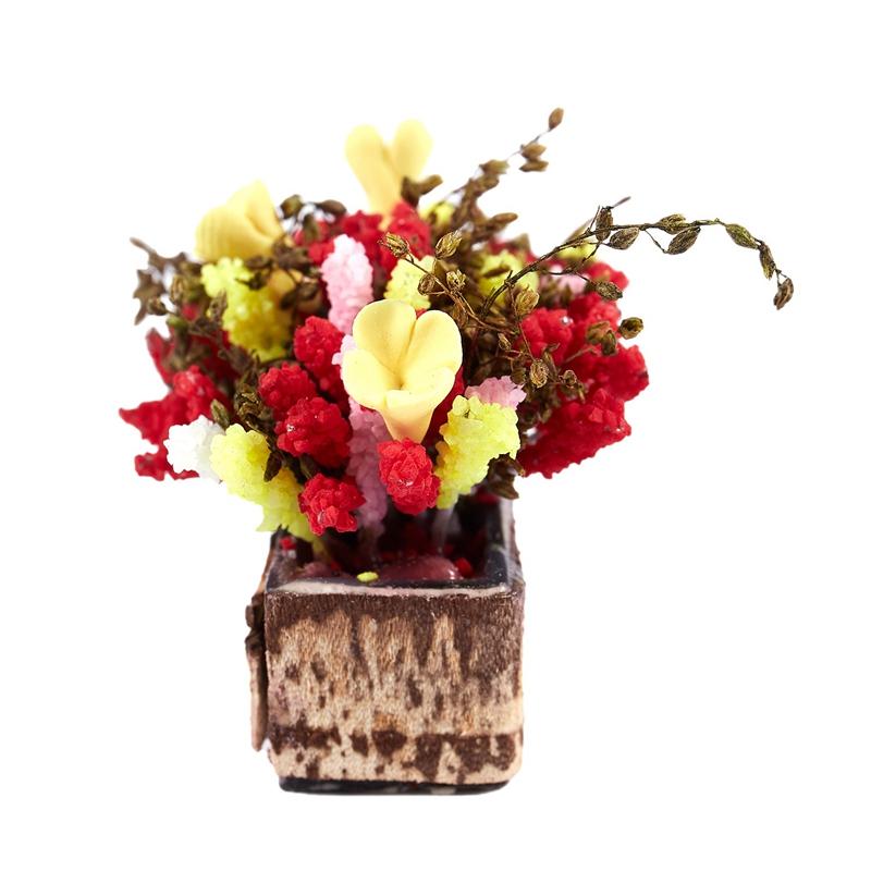 3X-1-12-Dollhouse-Miniature-Multicolor-Flower-Bush-With-Wood-Pot-V1X8 thumbnail 6