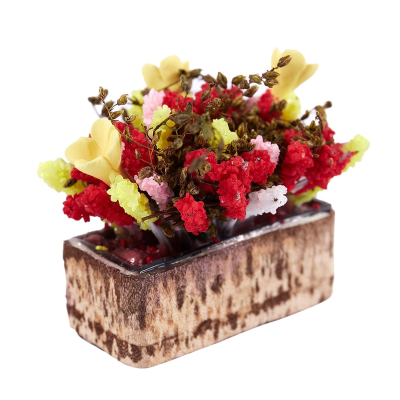 3X-1-12-Dollhouse-Miniature-Multicolor-Flower-Bush-With-Wood-Pot-V1X8 thumbnail 7