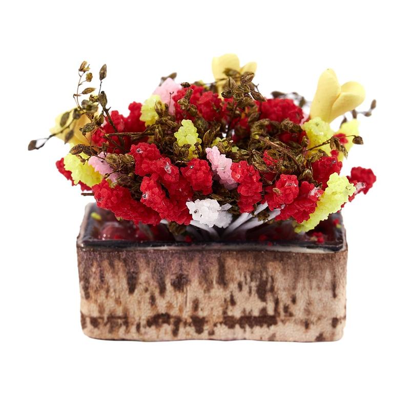 3X-1-12-Dollhouse-Miniature-Multicolor-Flower-Bush-With-Wood-Pot-V1X8 thumbnail 8