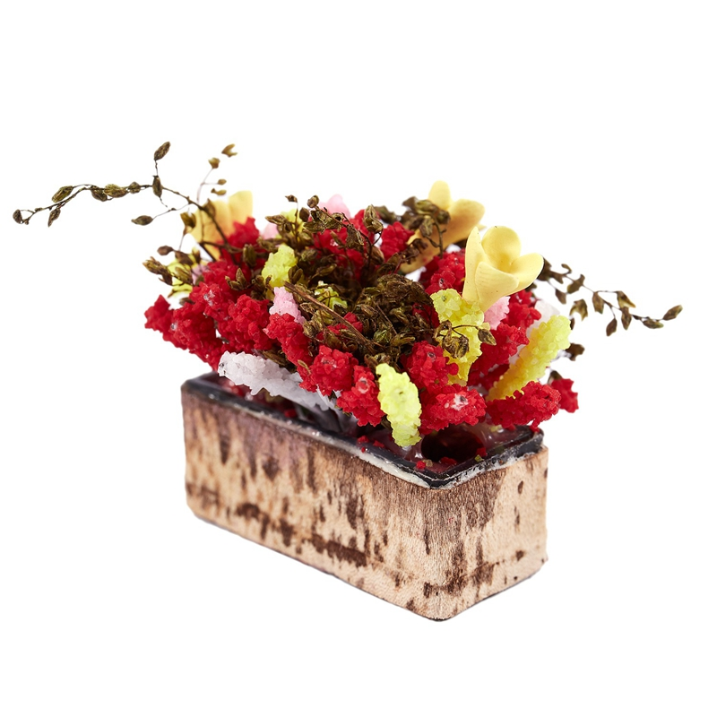 3X-1-12-Dollhouse-Miniature-Multicolor-Flower-Bush-With-Wood-Pot-V1X8 thumbnail 9