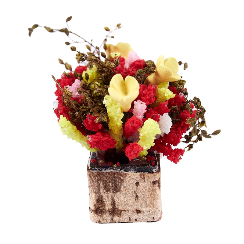 3X-1-12-Dollhouse-Miniature-Multicolor-Flower-Bush-With-Wood-Pot-V1X8 thumbnail 10