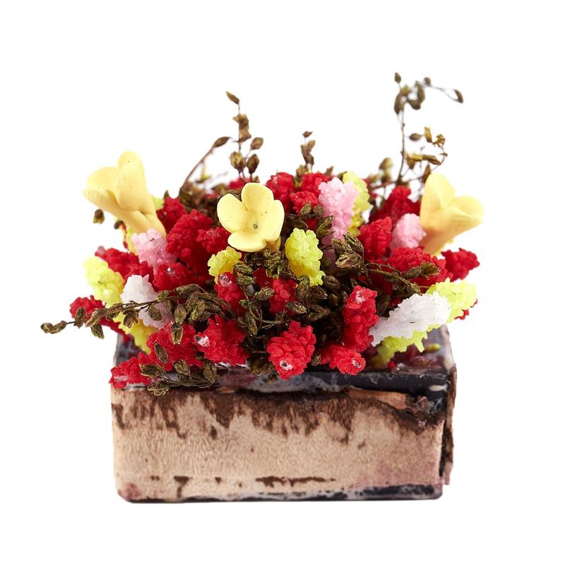 3X-1-12-Dollhouse-Miniature-Multicolor-Flower-Bush-With-Wood-Pot-V1X8