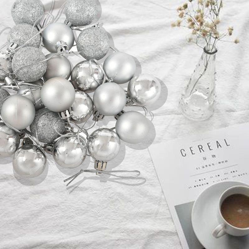 24Pcs-Chic-Christmas-Baubles-Tree-Plain-Glitter-XMAS-Ornament-Ball-Decorati-L5V3 thumbnail 19