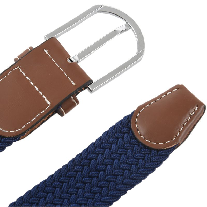 2X-Man-Woman-Leather-Belts-Canvas-Belt-Buckle-Elastic-Waistband-Belt-Navy-Z2P7 Indexbild 8