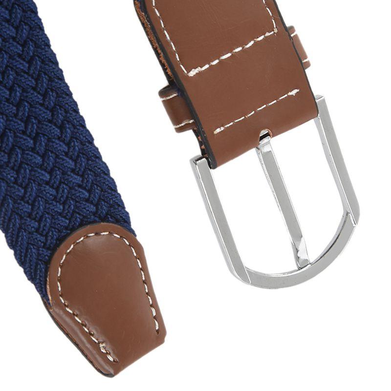 2X-Man-Woman-Leather-Belts-Canvas-Belt-Buckle-Elastic-Waistband-Belt-Navy-Z2P7 Indexbild 9