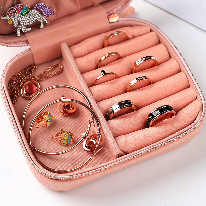 Portable-Jewelry-Box-Zipper-Storage-Organizer-Jewelry-Holder-Packaging-Disp-Z4O6 thumbnail 8