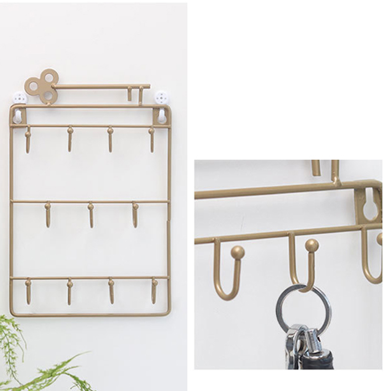 Iron-Wall-Mounted-Hooks-11-Hangers-Decorative-Key-Holder-Coat-Hat-Rack-Home-P1C0 thumbnail 11