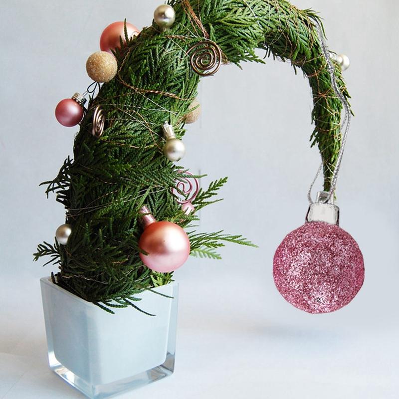 24Pcs-Chic-Natale-Palline-Albero-di-Natale-Glitter-semplice-ornamento-palla-decorati-S5F5 miniatura 46