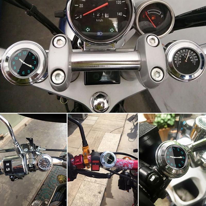 Popular-Motorcycle-Accessory-Handlebar-Mount-Time-Clock-Silver-T5B9 thumbnail 9