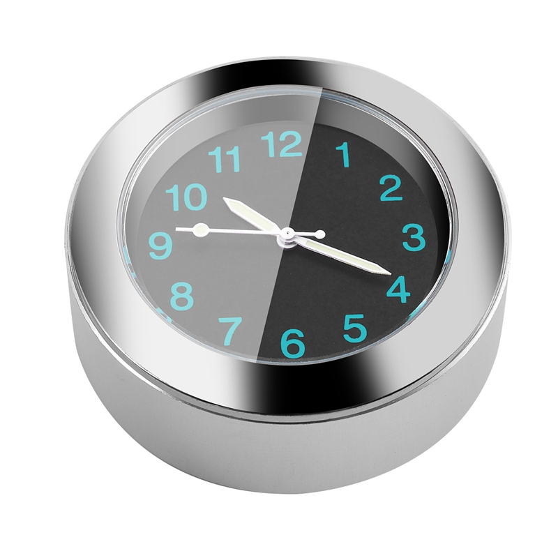 Popular-Motorcycle-Accessory-Handlebar-Mount-Time-Clock-Silver-T5B9
