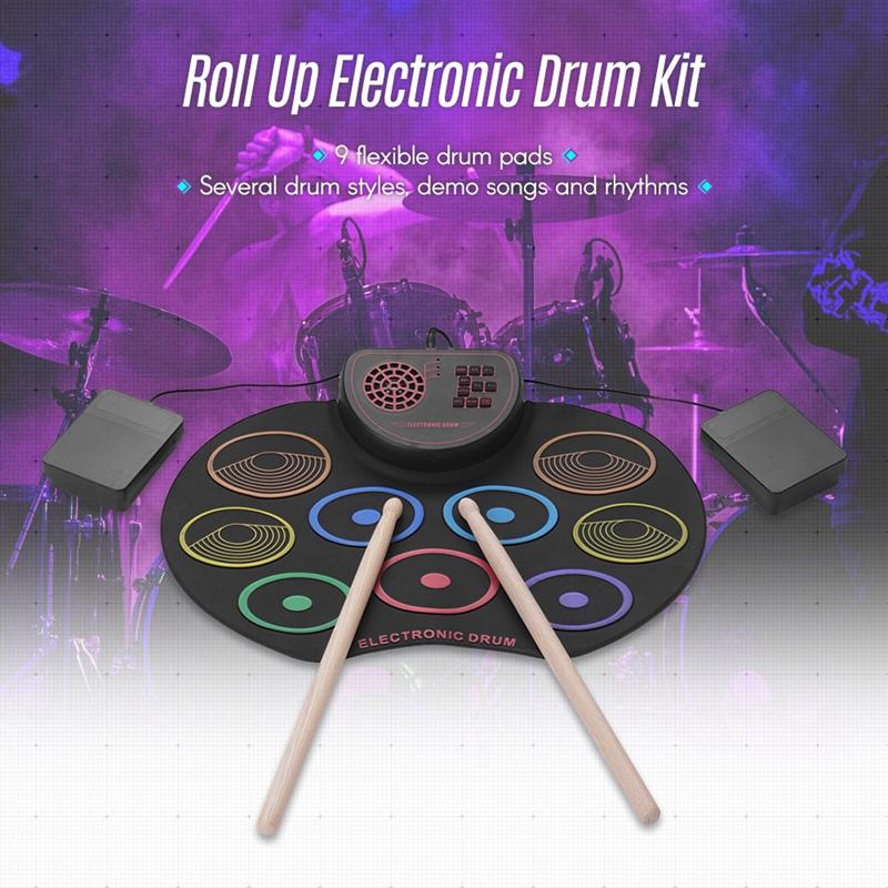 Tragbares Elektronisches Aufrollen Schlagzeug Pad Kit Silizium USB Elektron E5R9