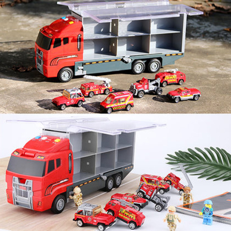 1X-Grand-Camion-et-6-PCS-Mini-Alliage-Miniature-Voiture-ModeLe-1-64-EChelle-O7E4 miniature 11