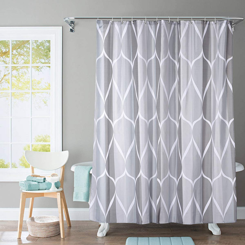 Shower-Curtain-Polyester-Fabric-Waterproof-Machine-Washable-with-12-Hooks-7-L3N8 thumbnail 5