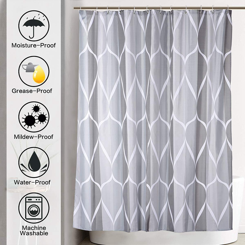 Shower-Curtain-Polyester-Fabric-Waterproof-Machine-Washable-with-12-Hooks-7-L3N8 thumbnail 8