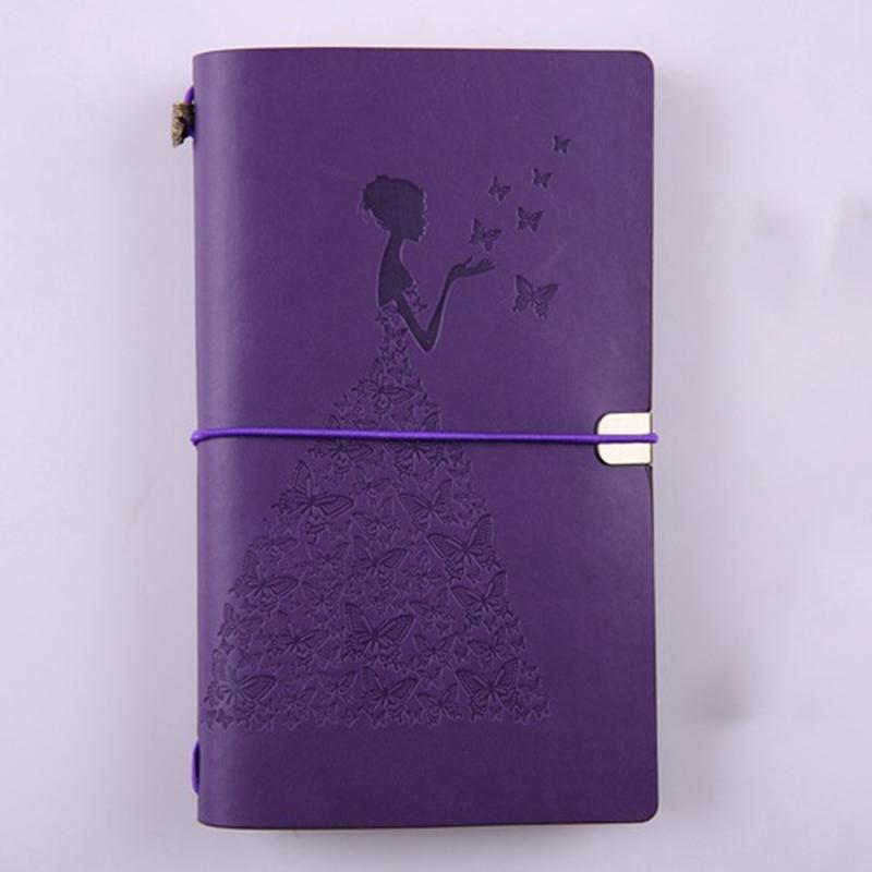 HueBsche-Dame-Vintage-Reisende-Notebook-Tagebuch-Notizblock-PU-Leder-Literat-D7B1 Indexbild 5