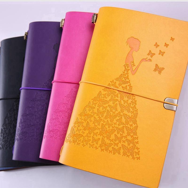 HueBsche-Dame-Vintage-Reisende-Notebook-Tagebuch-Notizblock-PU-Leder-Literat-D7B1 Indexbild 8