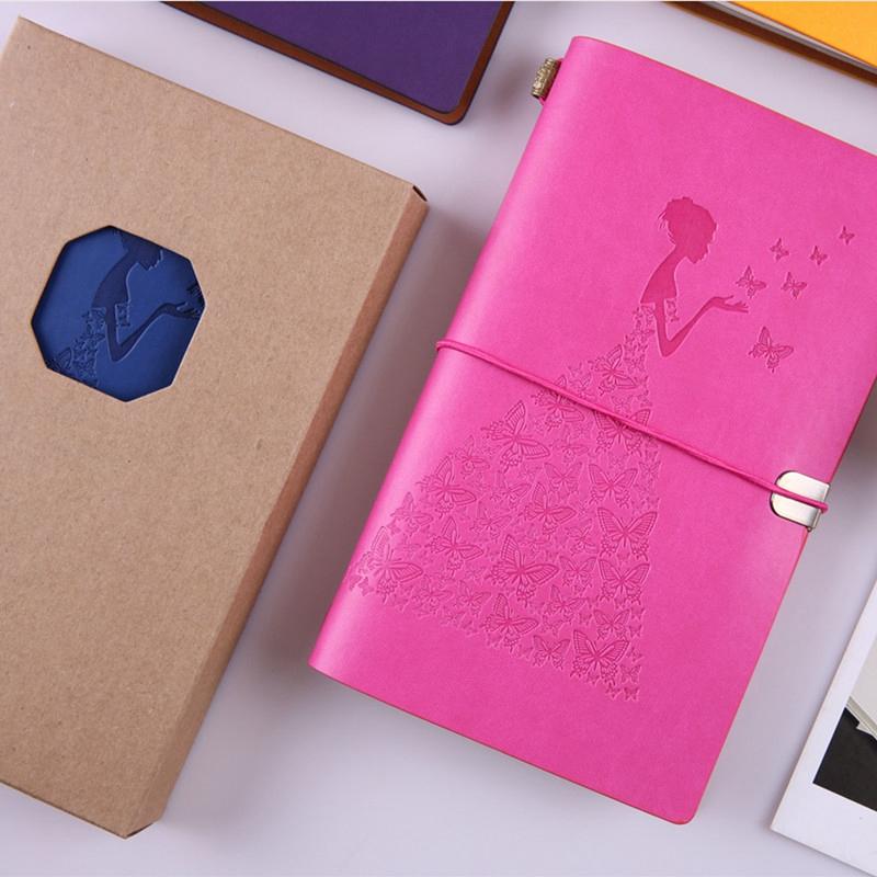 HueBsche-Dame-Vintage-Reisende-Notebook-Tagebuch-Notizblock-PU-Leder-Literat-D7B1 Indexbild 9