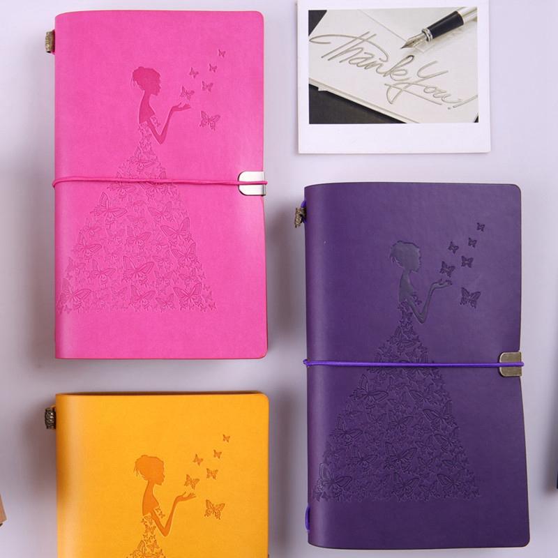 HueBsche-Dame-Vintage-Reisende-Notebook-Tagebuch-Notizblock-PU-Leder-Literat-D7B1 Indexbild 41