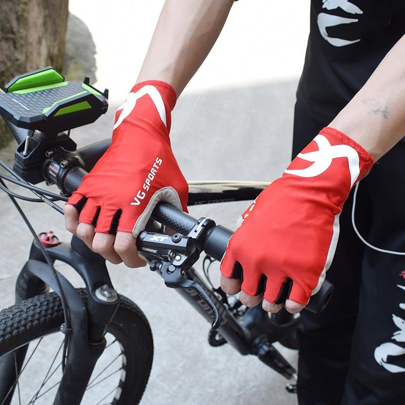 VG-Sports-Antiscivolo-Fare-Aria-Mezze-Dita-Guanti-Guanti-Della-Bicicletta-L-P5U9 miniatura 15