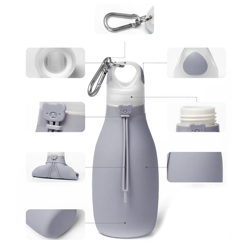 Indexbild 7 - Faltbare Silikon Wasser Flasche Faltbare Wasser Flasche für Kinder Auslaufs R1C6