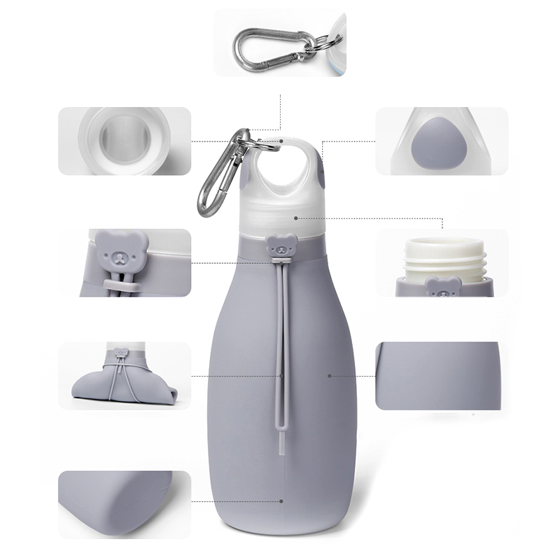 Indexbild 39 - Faltbare Silikon Wasser Flasche Faltbare Wasser Flasche für Kinder Auslaufs R1C6
