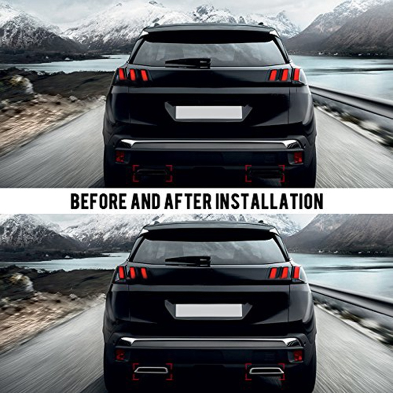 for Peugeot 3008 5008 Allure 2017 2019 Exhaust Pipe Tail Cover ABS Rear U4Q7