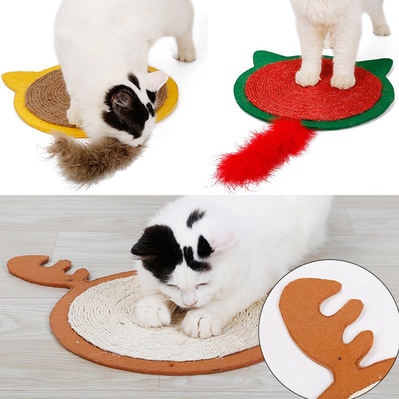 thumbnail 19 - Merry Christmas Cute Cat Pet Scratching Board Toy Cat Litter Mat for Kitten A2J2