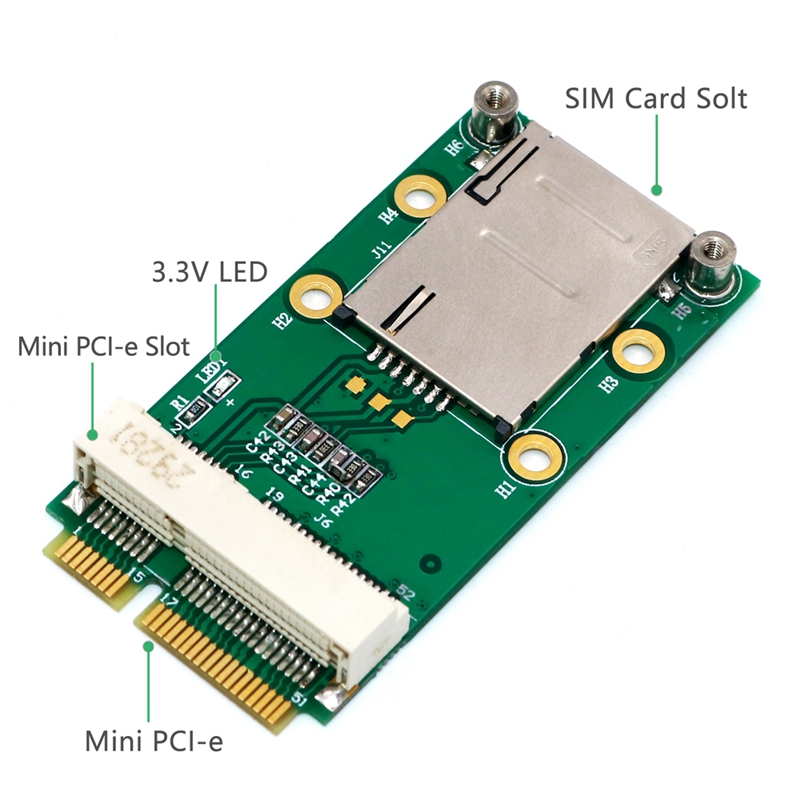 New-Mini-PCI-Express-Adapter-for-3G-4G-Module-with-USIM-Slot-MINI-PCI-E-To-T6H5 thumbnail 2