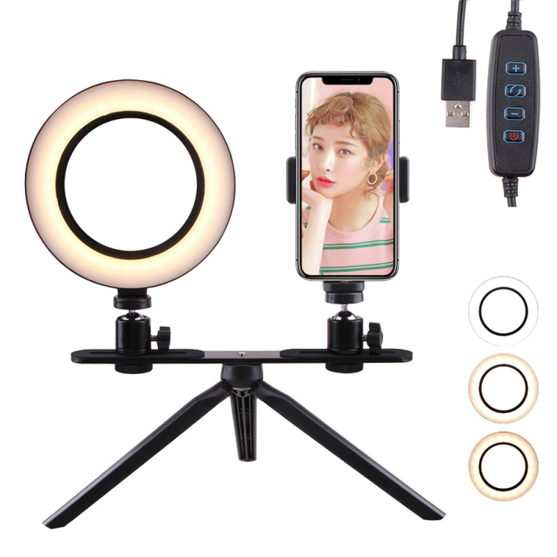 1X-Selfie-Ring-Light-with-Tripod-Stand-amp-Cell-Phone-Holder-for-Live-Stream-J8R7 thumbnail 5