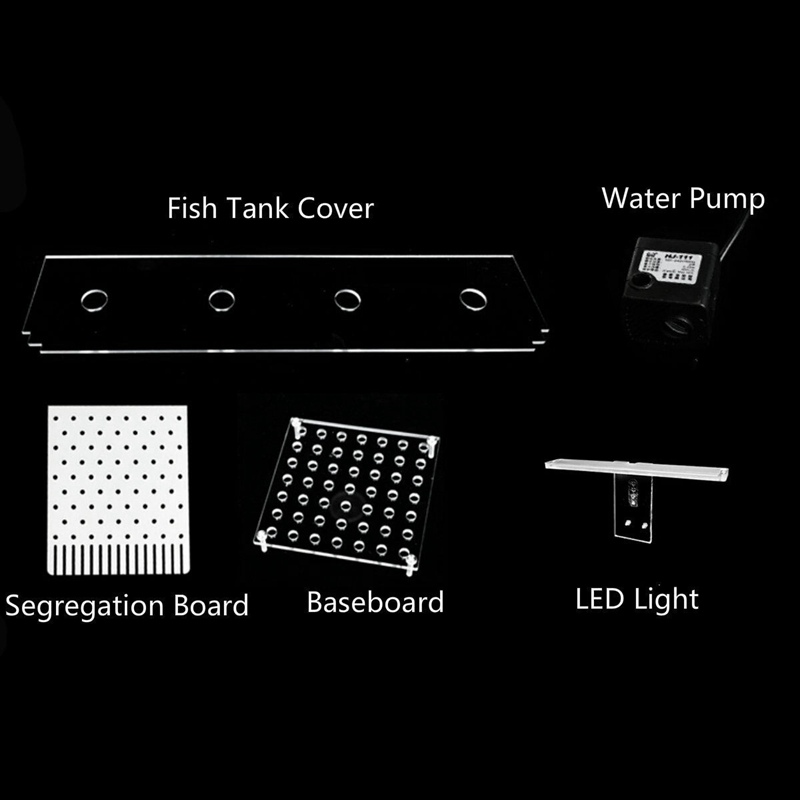 Aquarium-LED-ReServoir-de-Poissons-Acrylique-Betta-Set-Filtres-de-Pompe-a-E-B6Y8 miniature 11