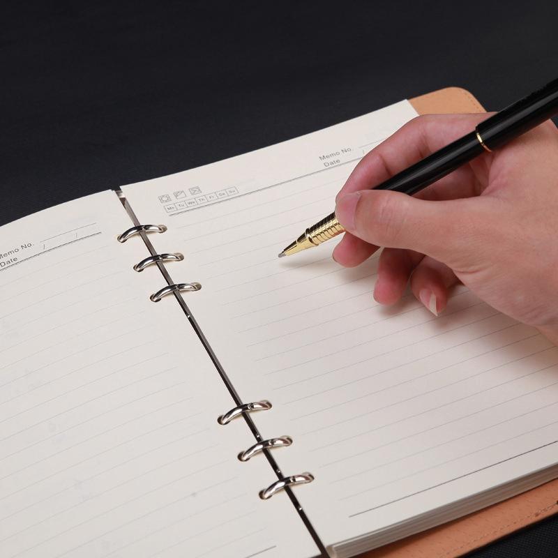 Agenda-A5-Hojas-Sueltas-Carpeta-de-Anillas-Inserciones-de-Cuero-Planificador-Por miniatura 12
