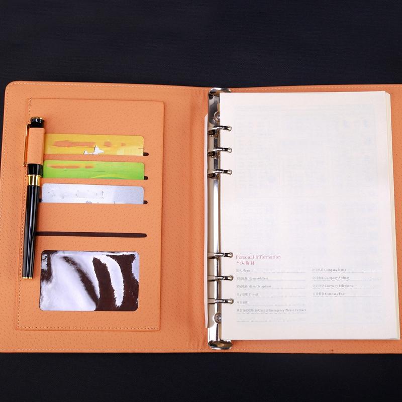 Agenda-A5-Hojas-Sueltas-Carpeta-de-Anillas-Inserciones-de-Cuero-Planificador-Por miniatura 13