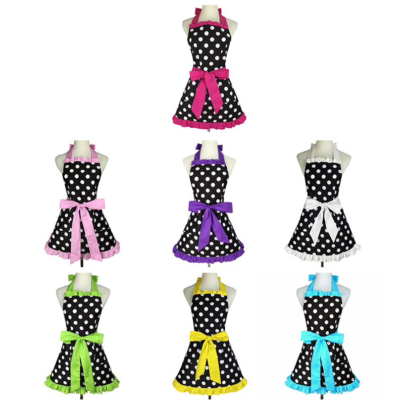 Details about Lovely Sweetheart Retro Kitchen Aprons for Woman Girl Cotton  Polka Dot Cooki 1K7