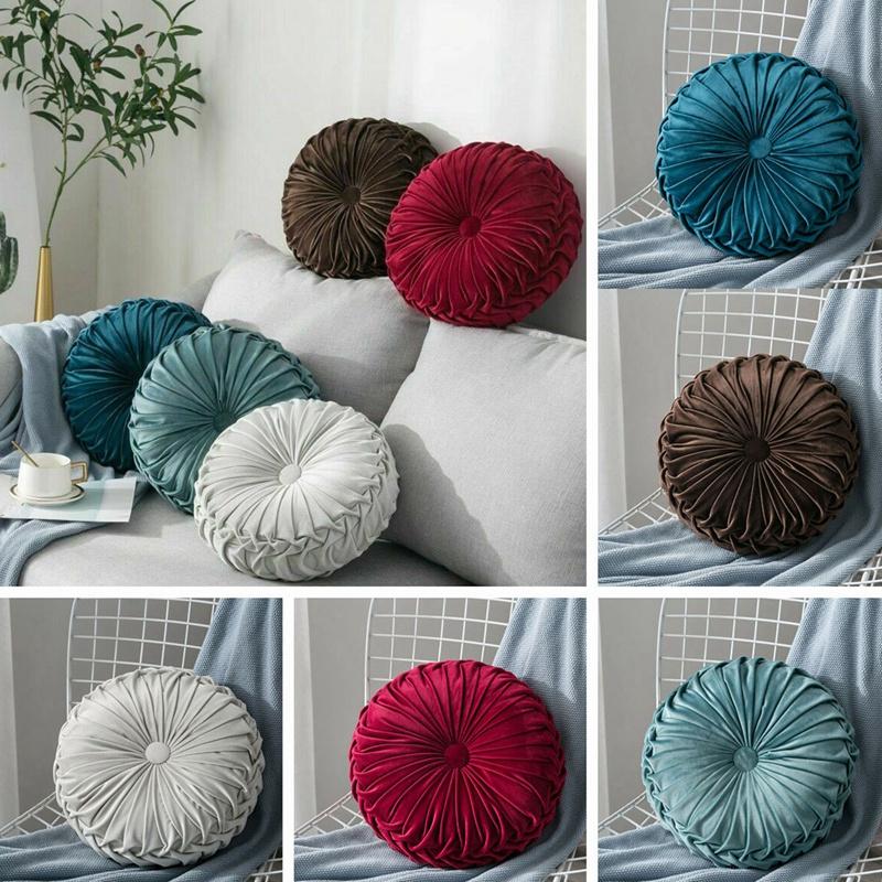 Round-Floor-Luxury-Velvet-Pumpkin-Pleated-Cushion-Pouf-Cover-Throw-Pillow-H-Q7T7 thumbnail 24