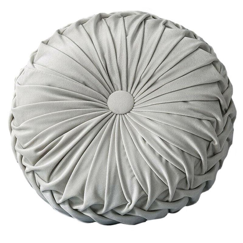 Round-Floor-Luxury-Velvet-Pumpkin-Pleated-Cushion-Pouf-Cover-Throw-Pillow-H-Q7T7 thumbnail 30