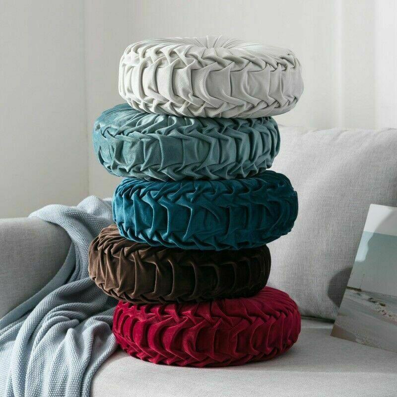 Round-Floor-Luxury-Velvet-Pumpkin-Pleated-Cushion-Pouf-Cover-Throw-Pillow-H-Q7T7 thumbnail 31