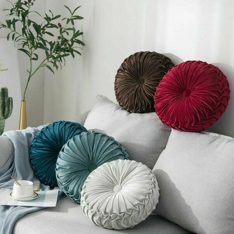 Round-Floor-Luxury-Velvet-Pumpkin-Pleated-Cushion-Pouf-Cover-Throw-Pillow-H-Q7T7 thumbnail 32