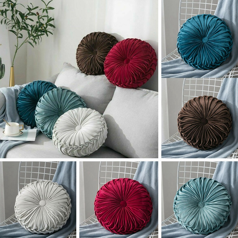 Round-Floor-Luxury-Velvet-Pumpkin-Pleated-Cushion-Pouf-Cover-Throw-Pillow-H-Q7T7 thumbnail 33