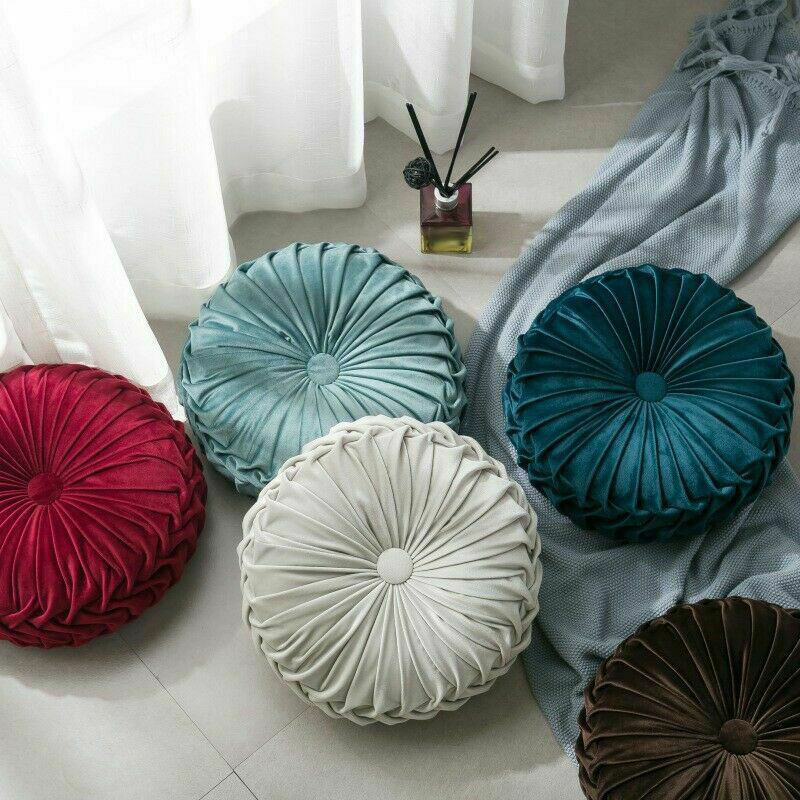 Round-Floor-Luxury-Velvet-Pumpkin-Pleated-Cushion-Pouf-Cover-Throw-Pillow-H-Q7T7 thumbnail 35