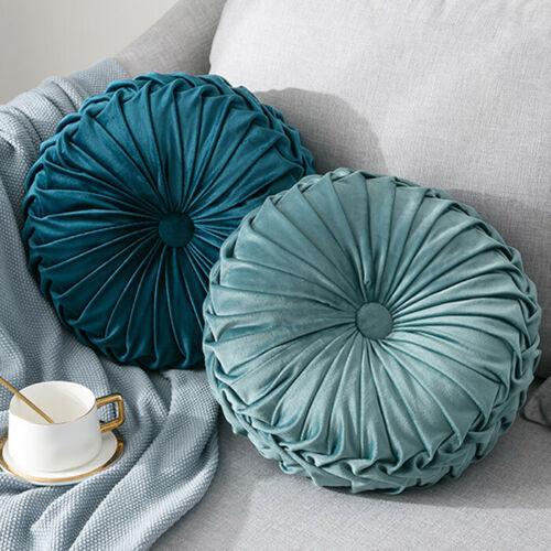 Round-Floor-Luxury-Velvet-Pumpkin-Pleated-Cushion-Pouf-Cover-Throw-Pillow-H-Q7T7 thumbnail 36