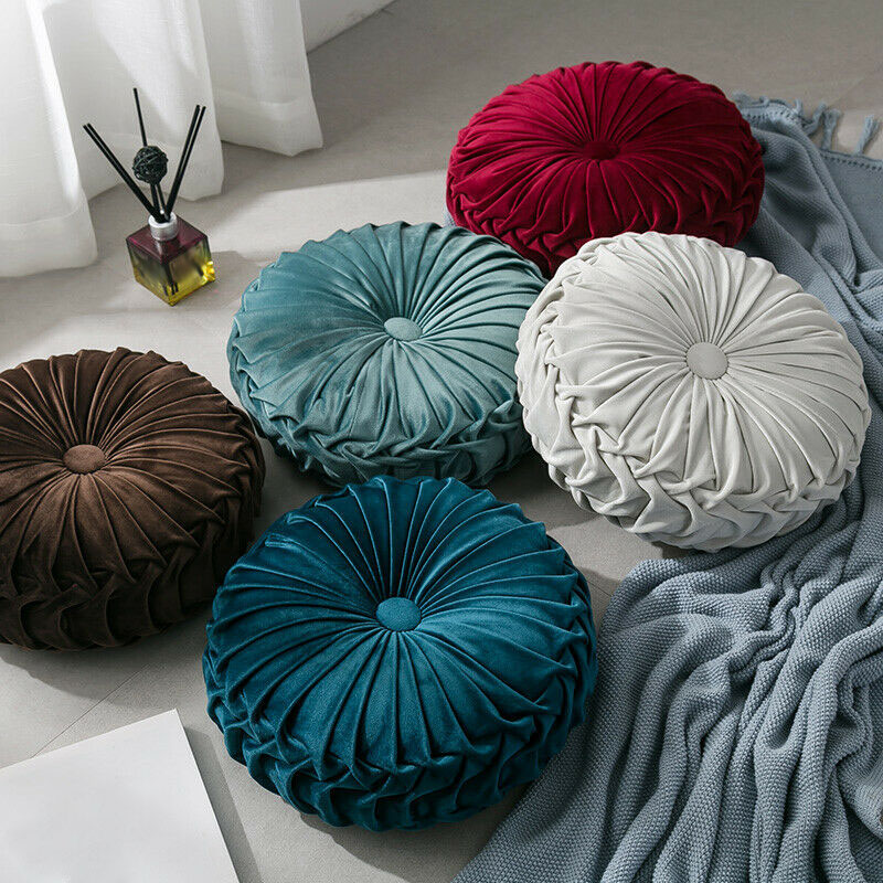Round-Floor-Luxury-Velvet-Pumpkin-Pleated-Cushion-Pouf-Cover-Throw-Pillow-H-Q7T7 thumbnail 43