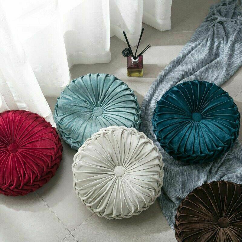 Round-Floor-Luxury-Velvet-Pumpkin-Pleated-Cushion-Pouf-Cover-Throw-Pillow-H-Q7T7 thumbnail 44