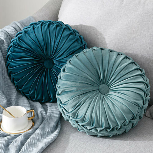 Round-Floor-Luxury-Velvet-Pumpkin-Pleated-Cushion-Pouf-Cover-Throw-Pillow-H-Q7T7 thumbnail 45