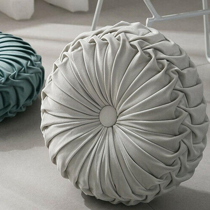 Round-Floor-Luxury-Velvet-Pumpkin-Pleated-Cushion-Pouf-Cover-Throw-Pillow-H-Q7T7 thumbnail 46