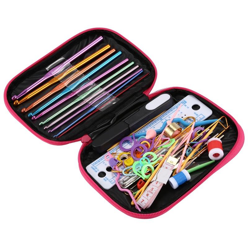 100-pezzi-di-uncinetti-Set-accessori-per-maglieria-con-custodia-in-pelle-O5W2 miniatura 4