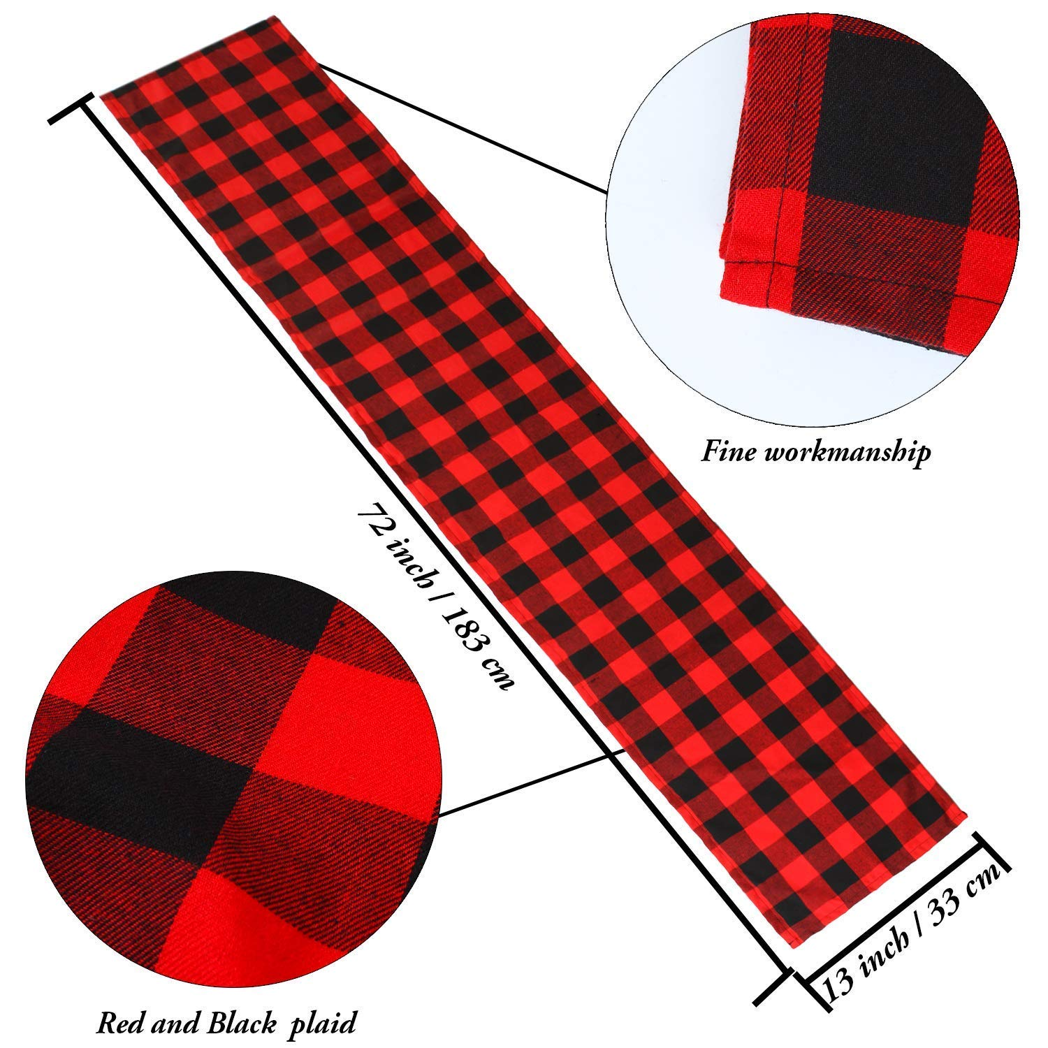 4-Pack-Checkered-Table-Runner-Cotton-Plaid-Table-Runner-Modern-Plaid-Design-U2L6 thumbnail 3