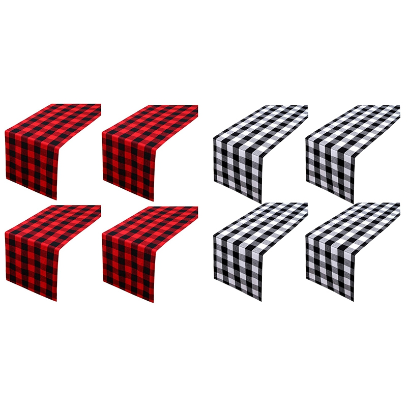 4-Pack-Checkered-Table-Runner-Cotton-Plaid-Table-Runner-Modern-Plaid-Design-U2L6 thumbnail 9